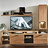Lomadox TV-Media Wohnwand Set in Wildeiche mit Lack Graphit inkl. LED-Beleuchtung