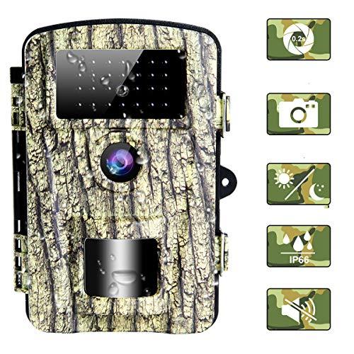 camara de caza de 16MP 1080P camaras de caza para vida silvestre, tiempo de disparo de 0.2 s camara nocturna de caza impermeable IP66