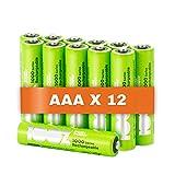 100% PeakPower Akku AAA, 12 Stück AAA Batterien wiederaufladbar, min. 800mAh, NiMH Technologie, ohne Memory-Effekt, 1,2 Volt (1,2V), geringe Selbstentladung, Ready-to-Use