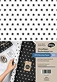 Weihnachtsgeschenkpapier-Set: Sterne (schwarz/ weiß): 4x Einzelbögen + 4x Geschenkanhänger (Sonstiges Zubehör)