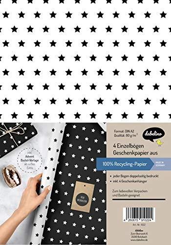 Weihnachtsgeschenkpapier-Set: Sterne (schwarz/ weiß): 4x Einzelbögen + 4x Geschenkanhänger