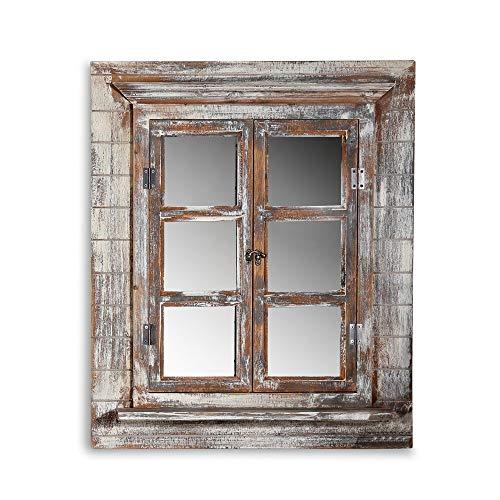 Melko Wandspiegel mit Fensterläden 64x54cm Shabby Chic Spiegelfenster mit Ablage, Fenstertüren als Bilderrahmen 13x13cm nutzbar