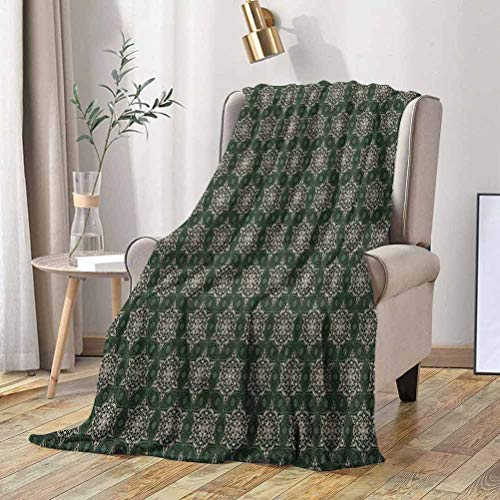 Vintage Soft Blanket Abstract Floral Motifs Mosaic Tile Pattern with Leaf Ornaments Old Fashioned 50x70 Inch Warm Soft Cozy Cute Blanket for Bed, Couch, Car