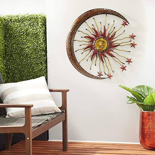 "Deco 79 42770 Metal Sun Moon Wall Decor, 36"" D"
