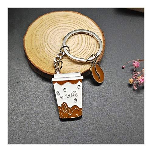 Schlüsselanhänger Kaffeetassen Schlüsselanhänger aus Metall Mode-Kuchen Schlüsselanhänger Charm Barista Geschenke Schlüsselanhänger Schmuck Dekorationen (Color : Coffee)