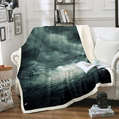 Manta de forro polar con diseño de rayos, diseño de sherpa con motivos oceánicos resistente a las manchas, fenómenos naturales, decoración de la habitación de bebé, 76 x 40 pulgadas