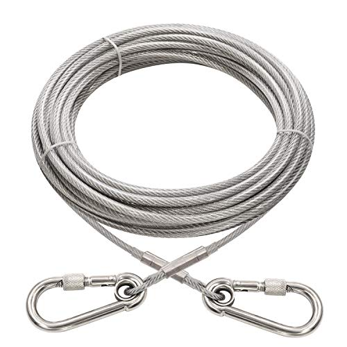 XiaZ 30 Feet Tie Out Cable for Dogs, Locking Carabiner Dog Runner Chain for Outside, Yard, Camping, Up to 250 Pounds