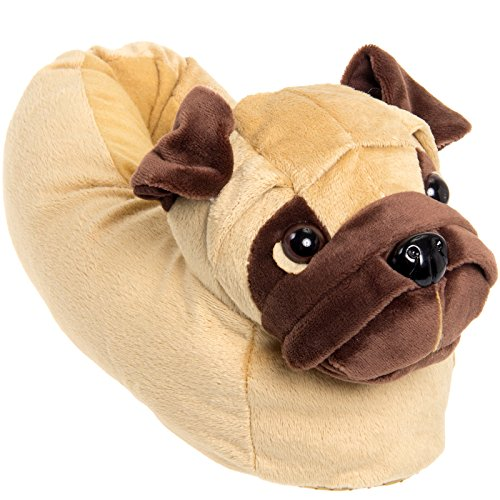 Silver Lilly Animal Slippers - Plush Pug Dog Slippers (Light Brown, XL)