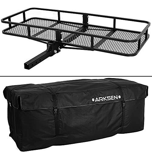 """ARKSEN 60"""" x 24-3/4"""" inch Cargo Hauler Carrier Hitch Mounted Luggage Basket with Cargo Bag Combo 2"""" Receiver Camping RV SUV"""
