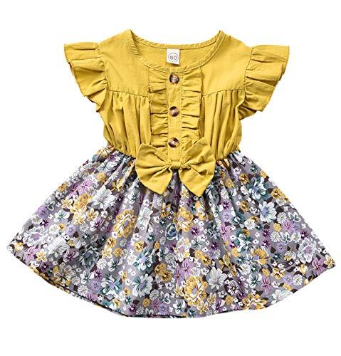 YOUNGER STAR Toddler Baby Little Girls Princess Dresses Summer Sleeveless Casual Denim Dress Floral Print Tutu Skirts (Yellow, 18-24 Months)