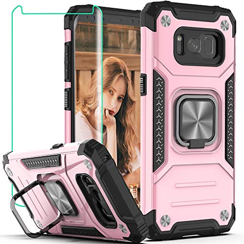 Galaxy S8 Plus Case, Samsung S8+ Plus Case with HD Screen Protector,YmhxcY Armor Grade Case with Rotating Holder Kickstand Non-Slip Hybrid Rugged Phone Case for Galaxy S8 Plus-KK Rose Gold