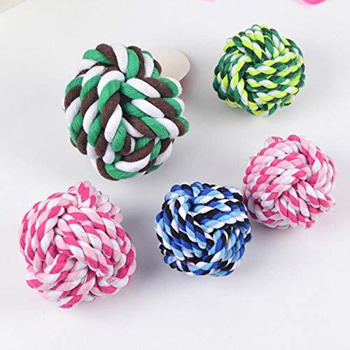 ZWQRandom Color Pet Dog Rope Knot Ball Boite Resistente a la mordedura Juguetes para Masticar Perros para Perros pequeños Puppy Toy Pets Dogs Supplies, Color Aleatorio, diámetro S 5.5cm
