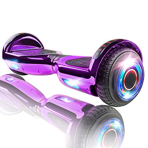 XPRIT Hoverboard w/Bluetooth Speaker (Black) (Chrome Purple)