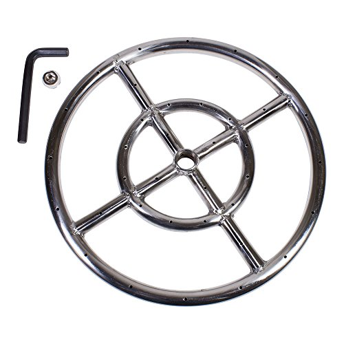 """Celestial Fire Glass 12"""" Round Fire Pit Burner Ring, Stainless Steel, Double Ring"""