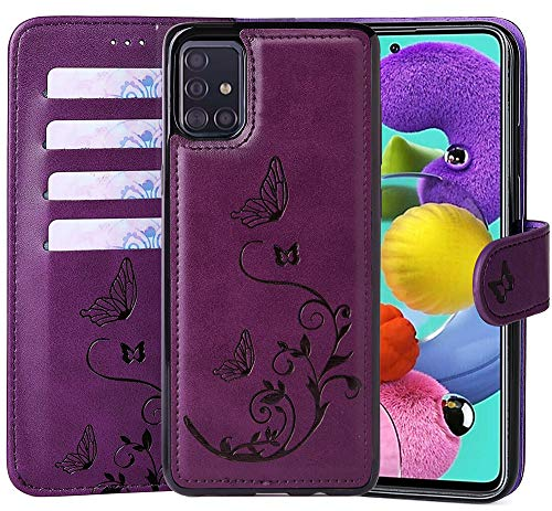 WaterFox Samsung Galaxy A51 / Galaxy A31 Wallet Leather Case with 2 in 1 Detachable Cover, Women Flip Folio with 4 Card Slots & Wrist Strap
