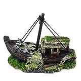 Ncbvixsw Adorno de resina para acuario con forma de barco roto para decoración de acuario, suministros de acuario para decoración de peces, peces y suministros acuáticos
