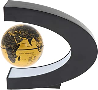 Flameer Magnetism Levitation Floating Rotating World Globe C-Shape LED Light Desktop