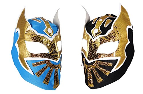 2 Pack SIN CARA Youth Lucha Libre Wrestling Mask - Kids Costume Wear - Party Pack - Black/Blue