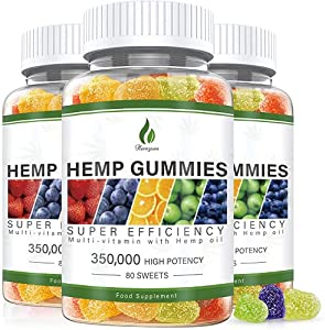 3 Pack Hemp Gummies 350,000MG Stress & Anxiety Relief - for Pain & Inflammation -Extra Strength - 240ct - Sleep Aid, Calm & Mood Support Premium Organic Hemp Plant Extract Rich in Omega 3-6-9 From USA