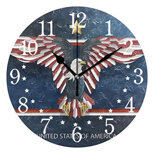 BKEOY Wanduhren mit Vintage-Maleroberfläche, Amerika-Weiß, mit Adler-Uhr, geräuschlos, Nicht tickend, Heimdekoration