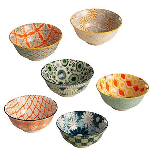 BARONI Set 6 Ciotole per Gelato, Antipasti o Dolci in Ceramica Samarcanda Multicolor 13x13x7 cm