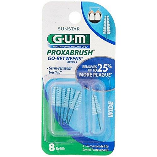 GUM Go-Betweens Proxabrush Refills Wide [614] 8 Each ( Pack of 12)