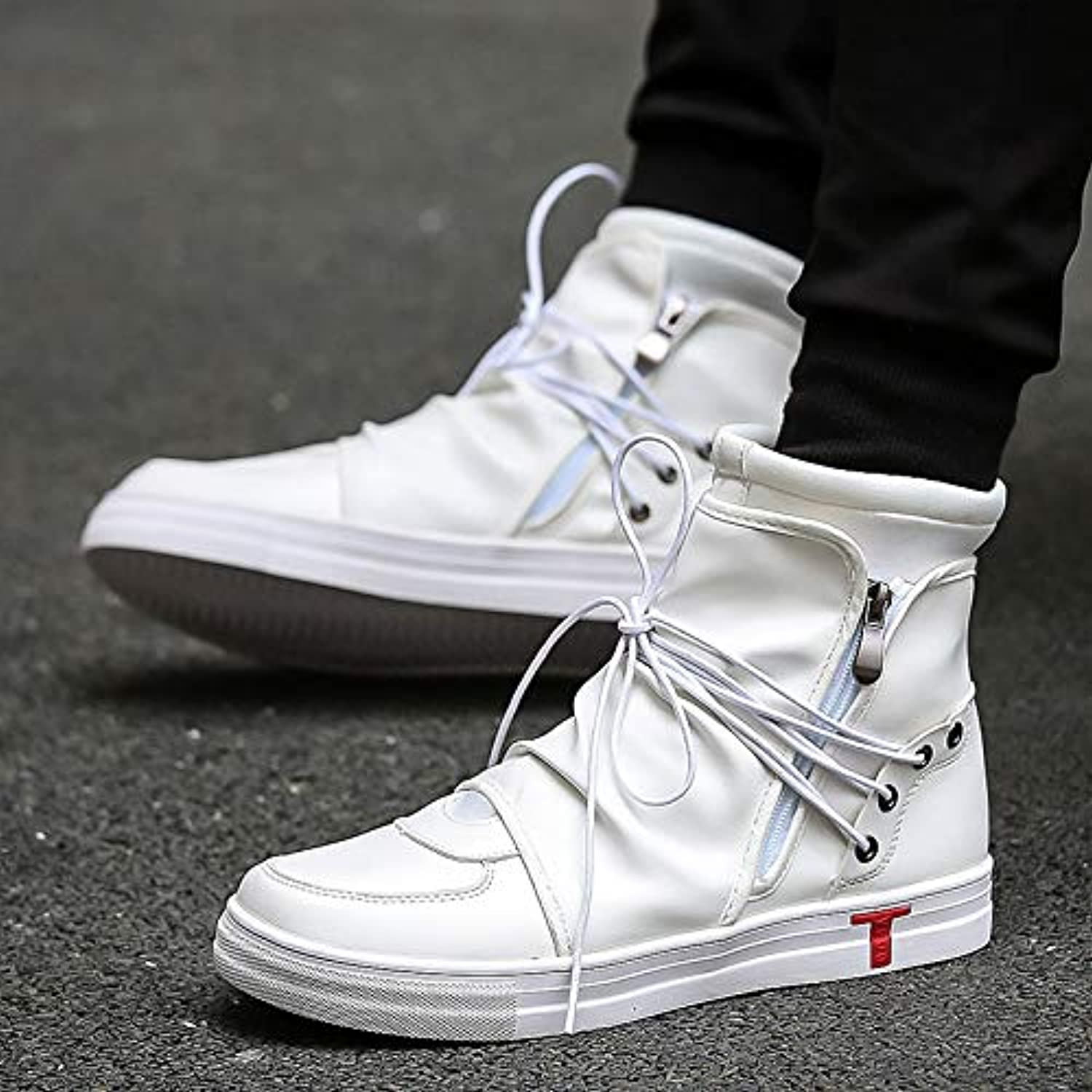 LOVDRAM Men's shoes Spring Top shoes Casual shoes Men'S Fashion Men'S White Short Boots Fashion Men'S shoes