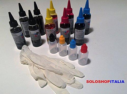 KIT Ricarica Cartucce 10 Flaconi 100ml d'inchiostro colori per stampanti CANON + ACCESSORI RICARICA TANICHETTE DI RIEMPIMENTO CARTUCCE RICARICABILI E CISS IN CONTINUO