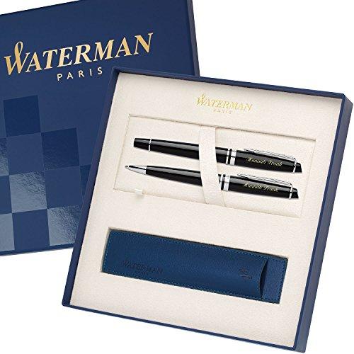 WATERMAN Schreibset EXPERT Schwarz C.C. mit persönlicher Laser-Gravur Füllfederhalter und Kugelschreiber im großen Geschenk-Etui
