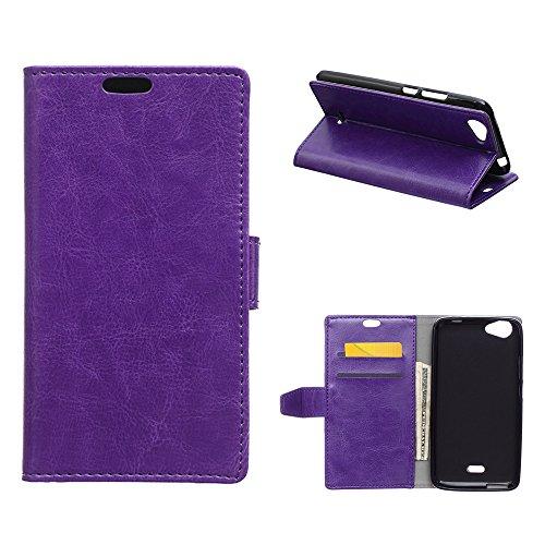 MOONCASE Wiko Rainbow Jam 3G Hülle, Ledertasche Brieftasche mit Standfunktion und Karte Halter Tasche Magnetisch Leder Schutzhülle für Wiko Rainbow Jam 3G Lila