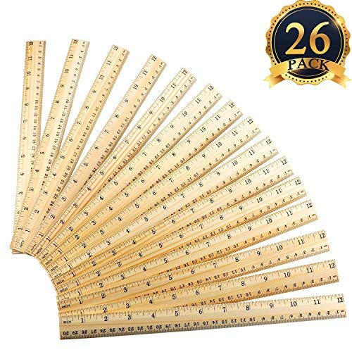 SUBANG 26 Pieces Student Ruler Wood Ruler Wooden School Rulers Office Ruler Measuring Ruler, 2 Scale (12 Inch and 30 cm)