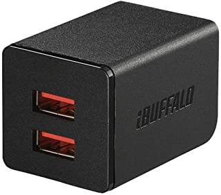 BUFFALO USB充電器 2.4A急速 USB×2 オートパワーセレクト搭載 ブラック BSMPA2402P2BK (対応機種)iPhone7,iPhone7Plus,Nintendo classic mini