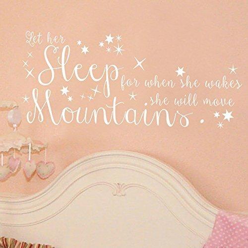 Adhesivo decorativo para pared con texto en inglés 'Let Her Sleep' extraíble para habitación de niña, cuarto de bebé, color marrón oscuro, 35,5 cm de alto x 86,4 cm de ancho, para decoración de sala de estar o dormitorio