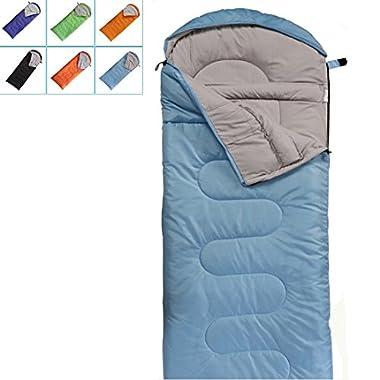 FARLAND Camping Sleeping Bag-EnvelopeMummy Outdoor Lightweight Portable Waterproof Perfect for 20 degree Traveling,Hiking Activities(Sky Blue/Left Zip, Rectangular)