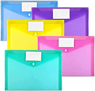 Plastic Envelopes Poly Envelopes, DELFINO Clear Document Folders US Letter A4 Size File Envelopes, with Label Pocket & Sna...