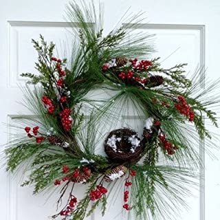 MillsフローラルPine Cedar and Red Berry Wreath、24インチ