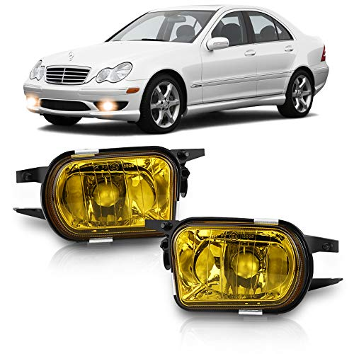 TangMiGe Fog Lights for Mercedes Benz C200 C230 C240 C320 C350 CL55/CL65/SL55/SL65 AMG CL500 CL600 CLK320 CLK500 SLK350 Base SL500 SL550 SL600 Convertible 2001-2009, A Pair, Yellow Lens
