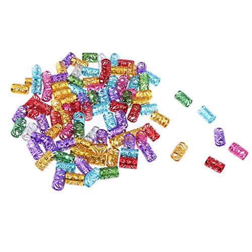 Harilla 100 Piezas Dreadlock Beads Dread Lock Puños Anillos Trenzados Joyería de Peluquería - Color mezclado