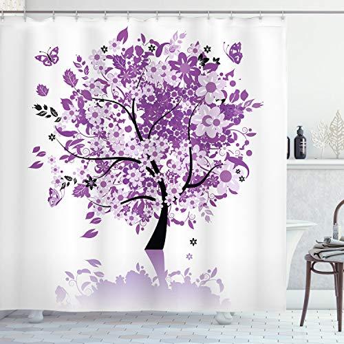 ABAKUHAUS Natur Duschvorhang, Heiliger Baum des Lebens, mit 12 Ringe Set Wasserdicht Stielvoll Modern Farbfest und Schimmel Resistent, 175 x 180 cm, Lila lila