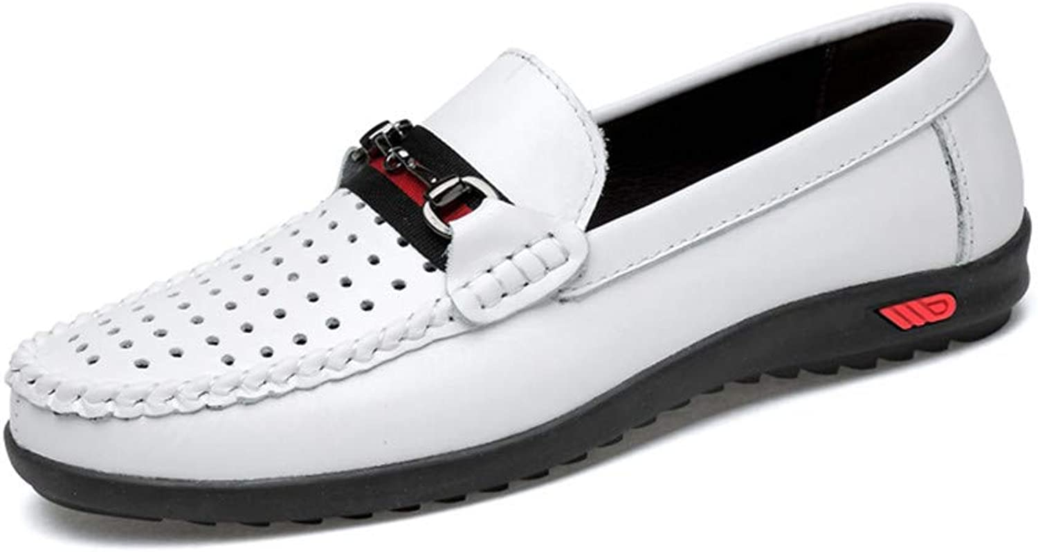 Men's shoes Comfort Flat Loafers Spring Season Fall Comfort Hole shoes Loafers & Slip-Ons Black White,B,43