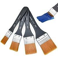 cococity Madera Cepillo de Pintura Set cabeza del cepillo mango de madera pincel para acrílico, aceite, acuarela (4 piezas)