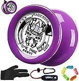 RENFEIYUAN Yoyo para niños D2 un tercero 1/3 Responsive Yoyo Looping 2a Yoyo para Principiantes, con 5 yoyos Cuerdas, Funda, Guante yoyo Profesional (Color : Purple)