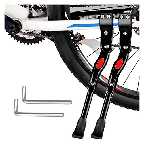 Béquille de Vélo Robuste 2 Pièces, Béquille Latérale de Bicyclette Réglable En Alliage D'aluminium Support de Vélo Réglable En Hauteur pour Vélo Avec Diamètre Roue 24-28 Pouces