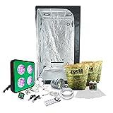 3x3 LED Grow Tent Kit Complete with AgroMax 3x3 (39'x39'x79') Tent + HTG Full Spectrum LED Grow Light + Organic Soil & Nutrients