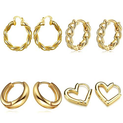 MN1 Pendientes de aro de Oro Conjuntos para Mujeres, Pendientes hipoalergénicos de aro de Oro Grueso, 14k Real chunfy Chunky Gold Hoops para Mujeres