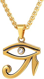 Ancient Eye of Horus Ankh Cross Pendant Charm Men Women Vintage Amulet Jewelry Stainless Steel /18K Gold Plated Symbol of Protection Necklace,Text Engrave Customizable