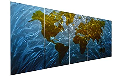 """Pure Art Blue World Map Metal Wall Art, Large Scale Hanging, 3D Wall Art for Modern and Contemporary Decor, 5-Panel Abstract Contemporary Sculpture, 24""""x 64"""", Works in Indoor and Outdoor Settings by Pure Art LLC"""