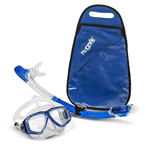 PRODIVE Premium Dry Top Snorkel Set - Impact Resistant Tempered Glass Diving...