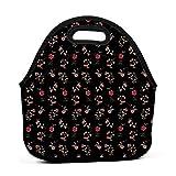 Bolsa de almuerzo portátil de neopreno, diseño de flora roja con correa de cremallera, bolsa de picnic al aire libre, viajes, bolso de moda, para mujeres, hombres, niños y niñas