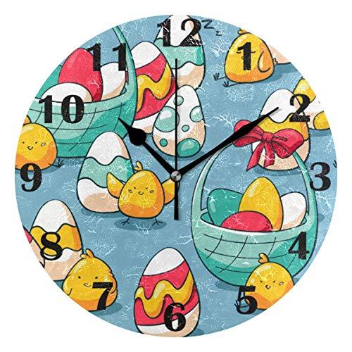 Cestas de Pascua Reloj de Pared de Pollo Huevos de Pascua silenciosos Flores de Primavera Relojes con Pilas Reloj de Escritorio Vintage de 10 Pulgadas de Cuarzo